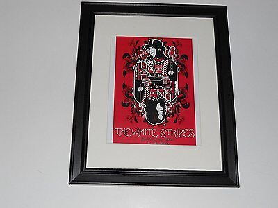 "White Stripes 2002 Jack White Tour Poster Moore Theater WA Framed Print 14""x17"""