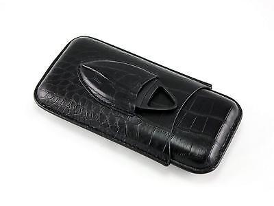 Black Crocodile Leather Travel 3 Cigar Case Holder with Cigar Cutter