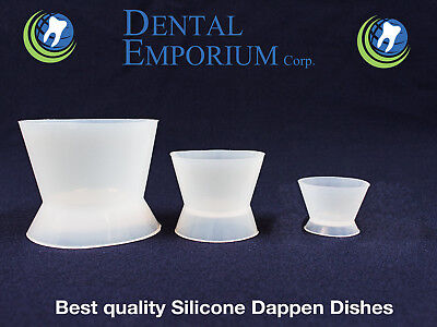 New Dental Lab Flexible Silicone Dappen Dish Mixing Bowl Cup 3pc Kit 100306ml