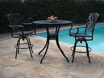 Grand Patio Furniture Outdoor Cast Aluminum 3 Piece Perris Collection Bar Set G