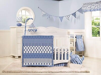 Dena Baby Boy Indigo Crib Set Blue and White 4 Piece Set