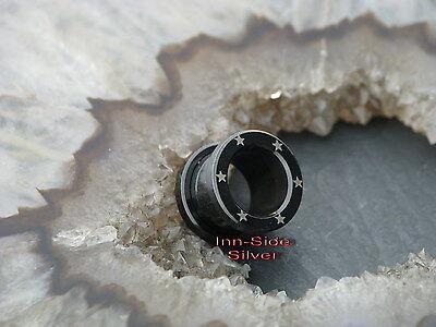 Steel Flesh Tunnel Blackline Stars Lasercut Piercing Ohrpiercing Dehnpiercing