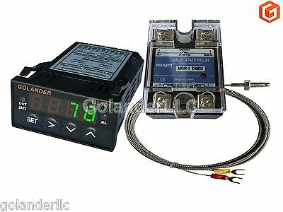 Universal 132din Pid Temperature Controller Green 25a Ssr K Thermocouple