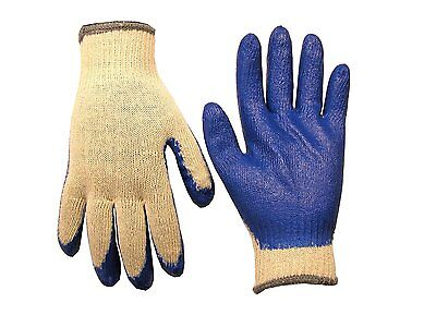 Custom Leathercraft 2029XL String Knit Gloves with Blue Dip, Extra Large