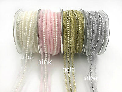 Ribbon Laces (5/8 Inch Lace with Pearls Ribbon price per yard select)