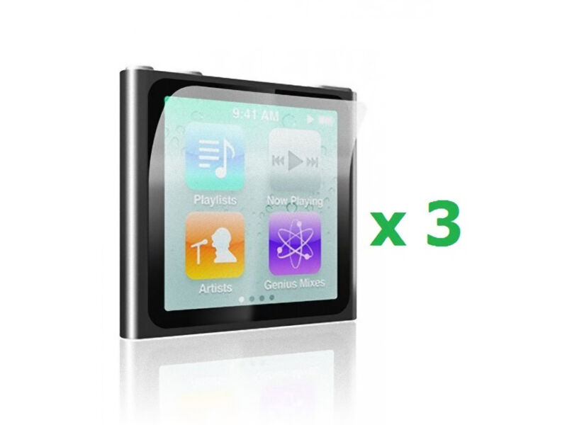 3 x Crystal Clear Screen Protector for Apple iPod Nano 6 th in Retail Package