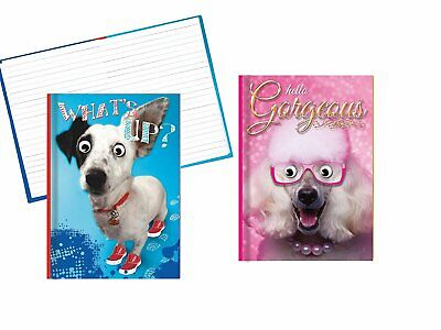 Hardback Notebook Set Covers Feature A Funny Dog With Googly Eyes - 8.25 X...