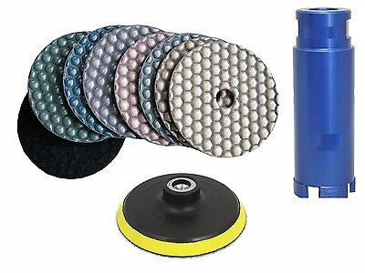 4 Diamond Dry Polishing 101 Pad 3 Core Bit Granite Concrete Sink Hole Cutter