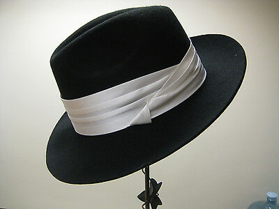 Men's Broadway Silk Hat Band Pin On Fedora Hat Band White Brown or Navy  (White Fedoras)