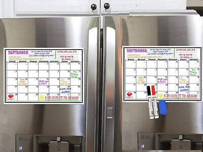 Monthly Magnetic Refrigerator Fridge Calendar Board With Free 2 Markers & Eraser ()