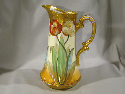 LARGE PICKARD CHINA HAND PAINTED POPPIES TANKARD PITCHER - 10 1/2""