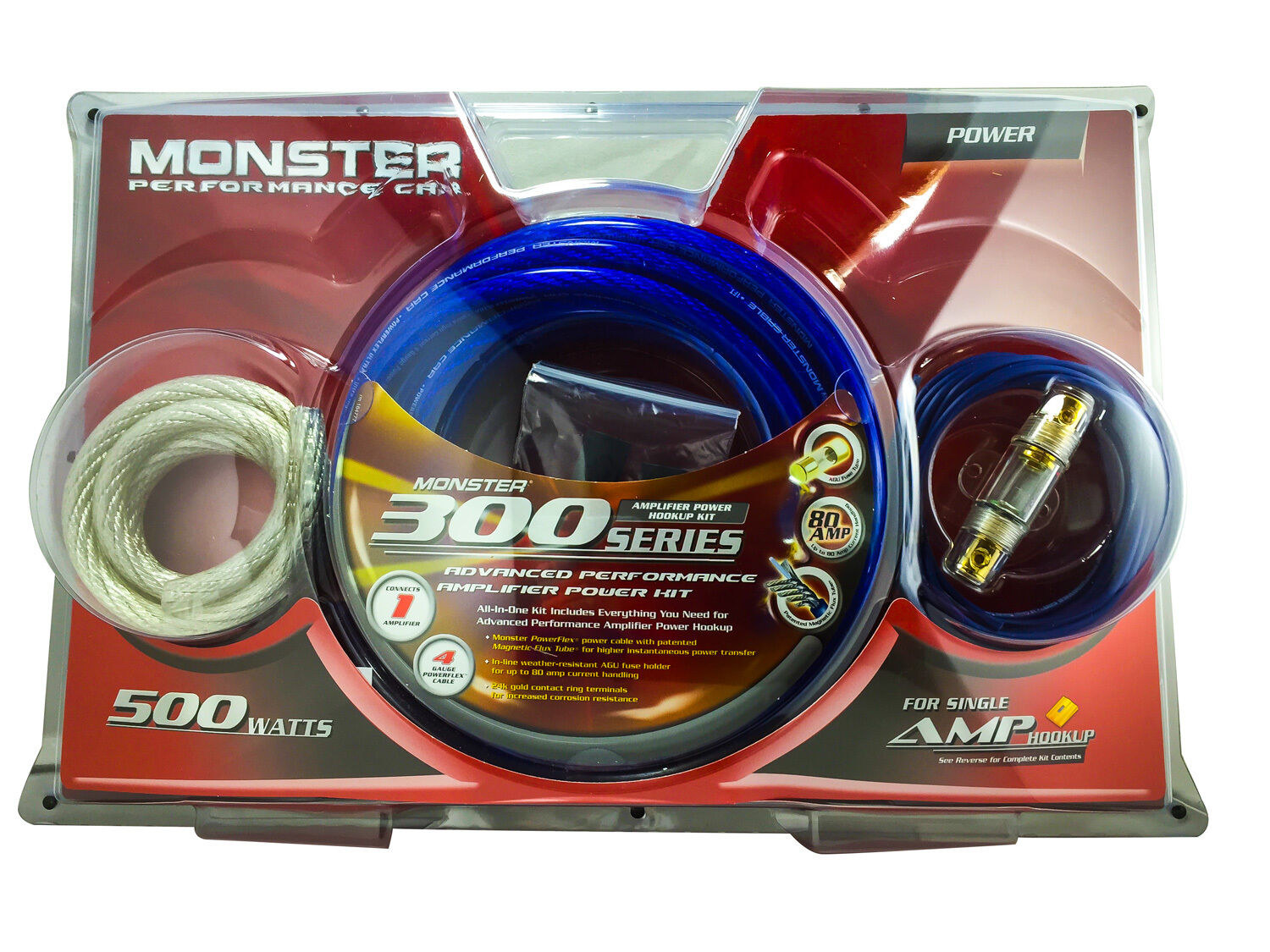 monster cable 300 advanced performance amp power kit 500 watts 80 rh ebay com 4 Gauge Power Wire Amp 4 GA Amp Wiring Kit