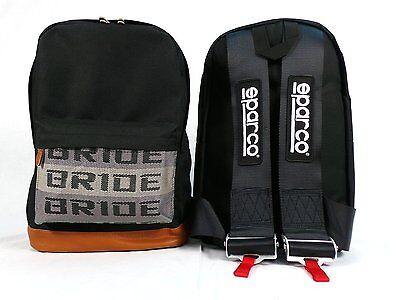 JDM Bride Racing Backpack with Racing Harness Shoulder Straps Seat Belt Black