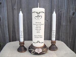 Personalised Wedding Unity Candle Set Gift Keepsake Hearts Poem Centrepiece
