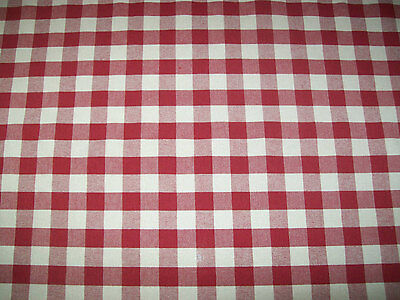 Red and Cream 1 Inch Woven Gingham Check Fabric - 5/8 yard with attached remnant for sale  Shipping to Canada