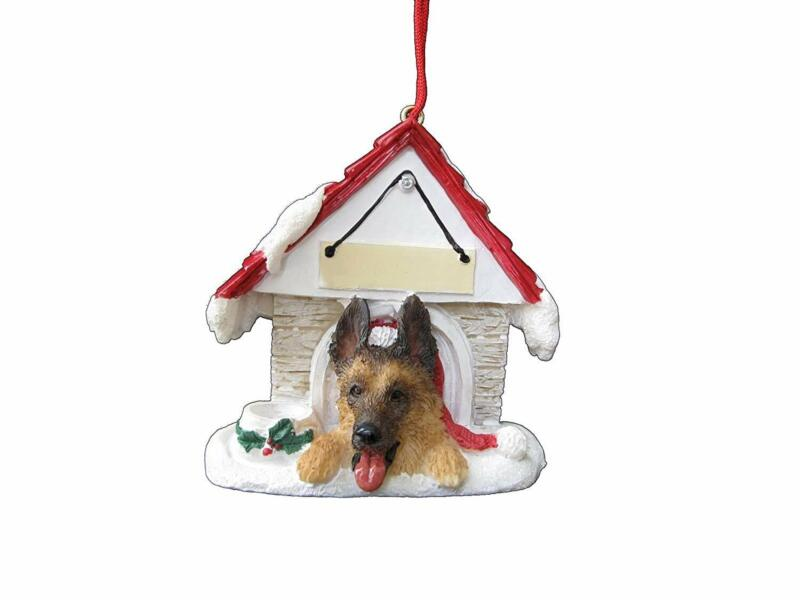 German Shepherd Doghouse Ornament Hand Painted and Easily Personalized