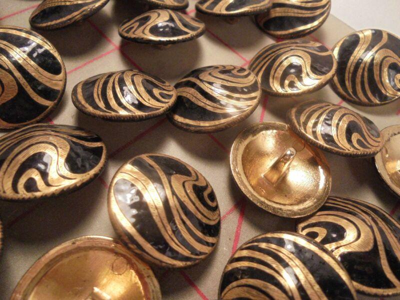 8 MEDIUM Fine Italian Metal Shank Button Flowing Swirl Gold Black Enamel Vintage