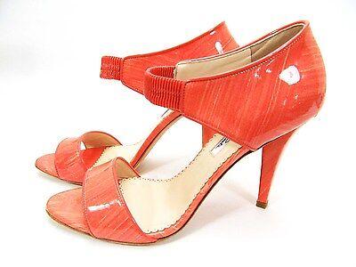 $795 NEW Oscar de la Renta Pumps Coral Patent Leather Orange Sandals Shoes 40.5