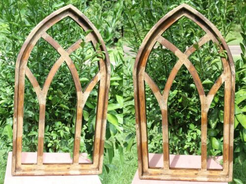"""(2) Old Cathedral Window Frame Display Distressed Wood 30 1/2"""", #3"""