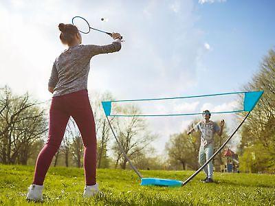 Crivit Badminton Set mit Pop-up Netz Schläger Federball Spiel Komplettset Spaß
