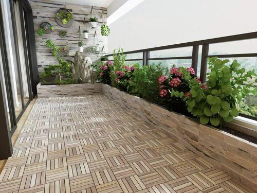 "Acacia Hardwood Interlocking Patio Deck Tiles, 12"" × 12"" (Pack of 10), Easy to I"