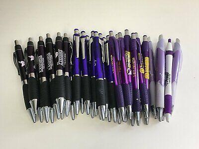 36 Lot Misprint Ink Pens Ball Point Purple Plastic Barrel Retractable