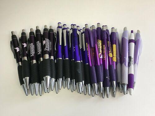 36 Lot Misprint Ink Pens, Ball Point, PURPLE Plastic Barrel, Retractable