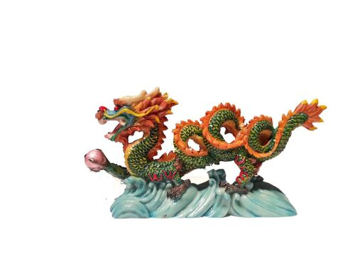 """NEW COLOR Chinese Feng Shui Dragon Figurine Statue for Luck & Success 6"""" LONG"""
