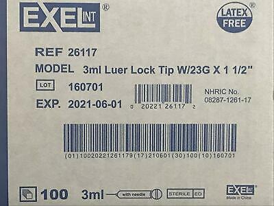 Brand New Exel Luer-lock 3ml3cc 23g X 1.5in 1 Box Of 100