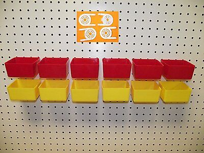 """16 PACK 1/4"""" HOLE Peg Board Workbench Bins (6) Red (6) Yellow (4) Tool holders"""