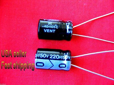 12 Pcs - 220uf 50v Electrolytic Capacitors