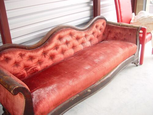 Camelback Red Velvet Quilt Upholstered Setee Sofa Couch, French Victorian 1800