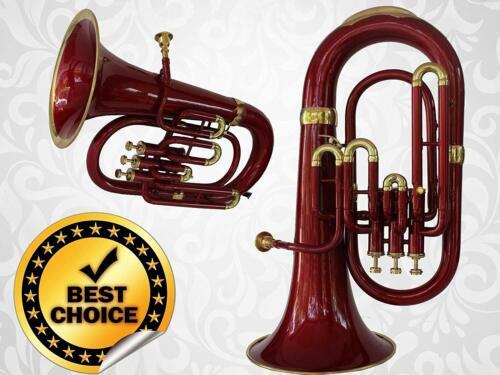 """Euphonium 3V 100% Brass Red Bb FLAT""""SAI""""M/P & Bag Free"""