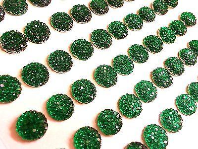 60 x Selbstklebend Smaragdgrün Strassstein Blase-Stick auf Edelsteine