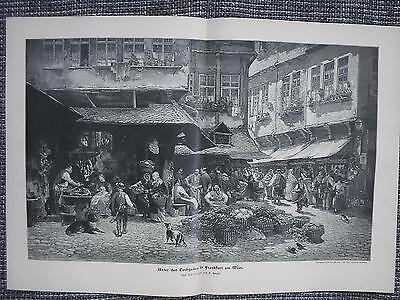 Tuchgaden in Frankfurt am Main Altstadt Markt HOLZSTICH von 1901