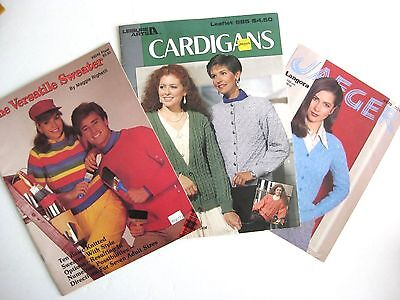 Lot of 3 Basic Sweater Knitting Pattern Booklets Cardigan 1980s Maggie Righetti
