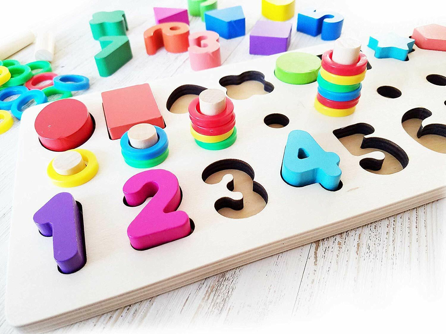 Shapes And Color Sorter Puzzle Stacker Wooden Toy 3 On 1 Board wnumbers colors