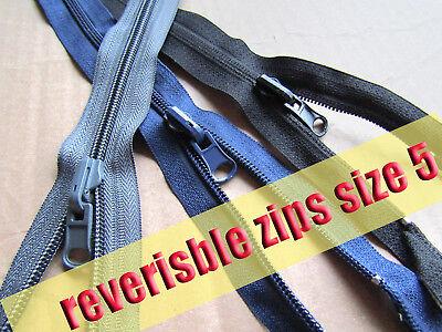 Plastic Zip Reversible Zip No5 Plastic Zipper  Double Sided Coil Zip 3 col 75 (Plastic Coil Zipper)
