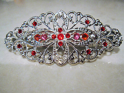 Silver filigree hair clip barrette made with red swarovski crystals hair clip