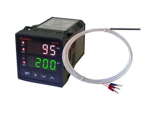 Dual Display Digital PID F/C Temperature Controller with PT100 Probe