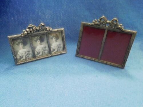 Lot of 2 Picture Frames Victorian Style Silver Metal Hold 2 and 3 Photos Glass