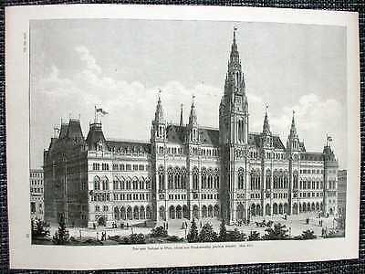 Wiener Rathaus Neues Rathaus Original HOLZSTICH von 1889 Dombaumeister Schmidt