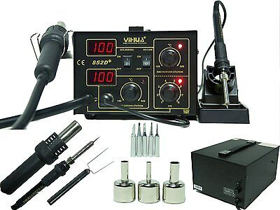 2In1 Soldering Station Rework Hot Air   Iron 852D  5 Tips Smd Built To Last