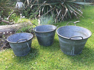 3X Round Vintage Zinc Galvanised Metal Garden Flower Planter Tub Pot Bucket (L)