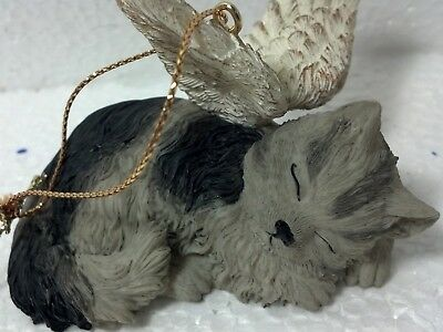 Ganz Guardian winged angel cat hanging christmas ornament GREY CAT #EX4911 New