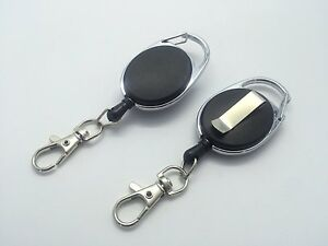 Black Retractable Key, Reel - Recoil Cord Key Ring Pull Chain Belt Clip