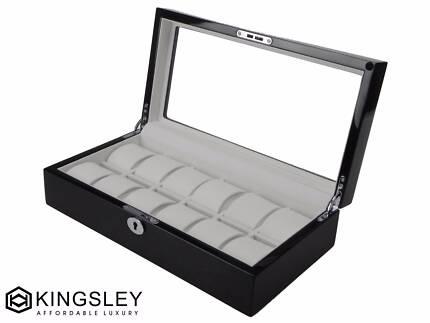 Kingsley high gloss piano paint black wooden luxury watch case Auburn Auburn Area Preview