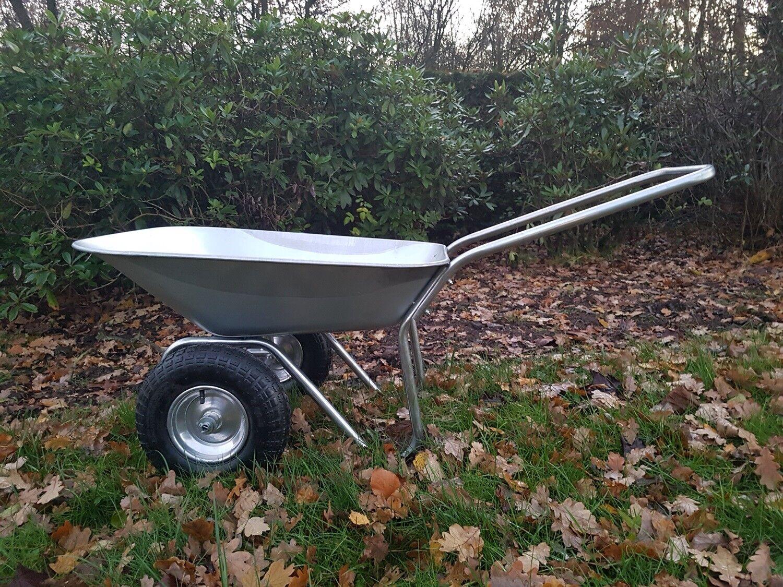 2 Rad Schubkarre Verzinkt 130kg Gartenkarre Bauschubkarre Flach und Luftbereift