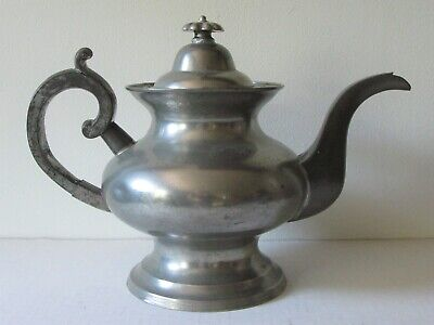 PIGEON BREASTED PEWTER TEAPOT; 1830's NEW ENGLAND