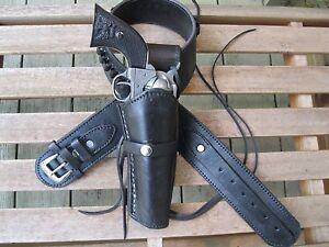 Black Leather Gun Belt and Smooth Holster Combination for Western Cowboy Shooter